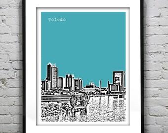Toledo Ohio Skyline Poster Art Print