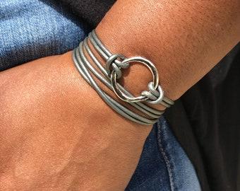 Wrap Bracelet, Infinity Circle Wrap Bracelet, Leather Bracelet, Cuff Bracelets, Gift for Her,  Boho Bracelet, Bohemian Bracelet, For Wife