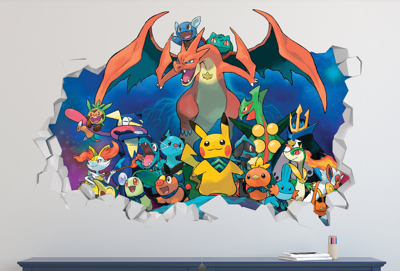 Pok Mon Go Group Wall Decal Pok Mon Go Group Smashed Sticker # Muebles Pokemon