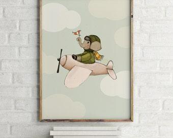 Elephant flying - Boy Art - Holli - Nursery Wall Art - Nursery Decor - Childrens Art - Kids Wall Art - Nursery Art