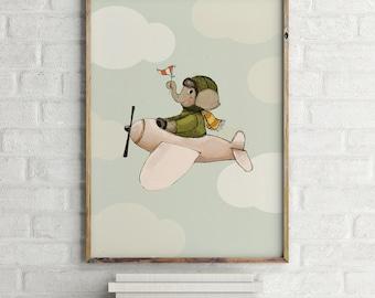 Elephant flying, Boys room decor, boys wall decor, baby shower boy, art for boys room, kids room decor,boy nursery art, boy nursery decor