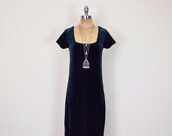 Vintage 90s Black Velvet Dress Velvet Maxi Dress Body Con Dress Bodycon Dress 90s Dress 90s Grunge Dress Goth Dress Gypsy Dress S Small