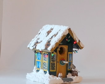 Medium Blue and Gold Christmas Bird House , Hand Made , Hand Painted , Lighted with Flashing Lights and Decorated