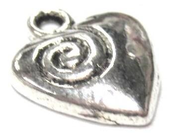 20 pieces heart Tibetan Silver Alloy Charm Pendants - A0543