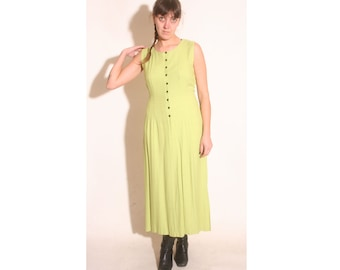 Vintage 1990s LA Girl Lime Green and Black Polka Dot Maxi dress size 12
