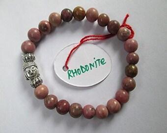WholesaleGemShop -Rhodonite 8 mm Bead Buddha Bracelet with Free Shipping