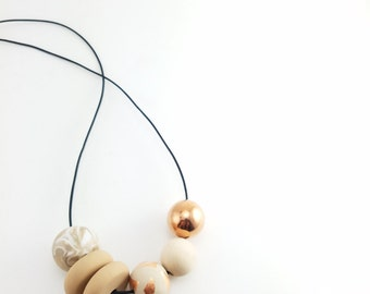 Copper,  Clay and Wood Necklace//Beaded Clay Leather Cord Necklace// Statement Clay  Necklace