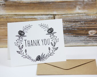 Black and White Thank You Floral Note Card