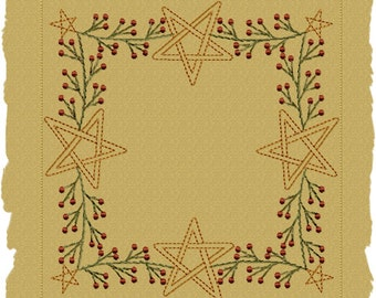 MACHINE EMBROIDERY-Berry Star Garland Candle Mat--8 INCH-Colorwork Stitch-Instant Download