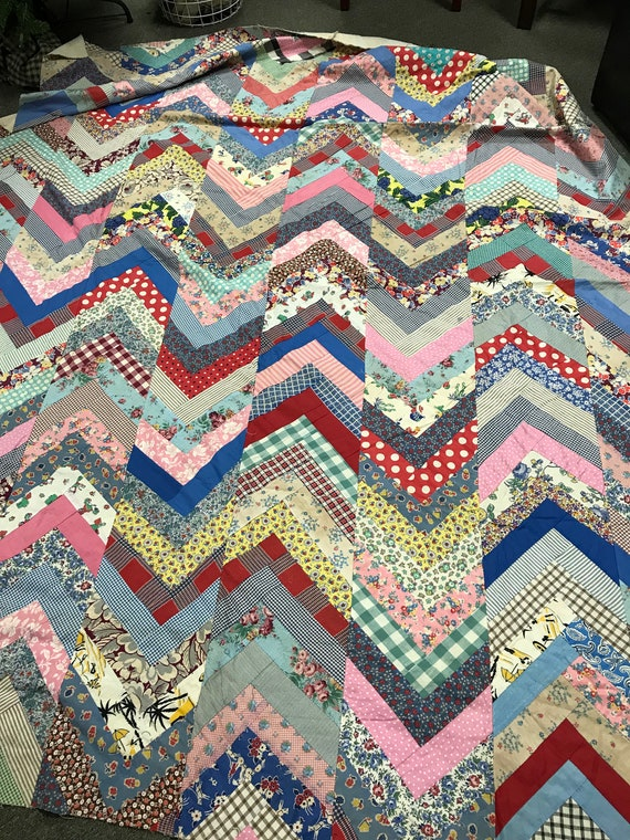 Foundation Pieced Vintage Feed Sack Chevron Quilt Top