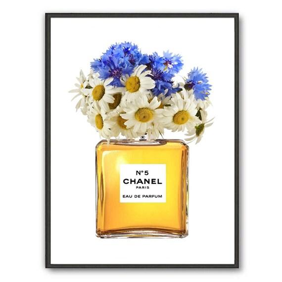 Chanel Nr. 5 Kunst Druck Chanel Parfüm mit blauem Mais Blumen