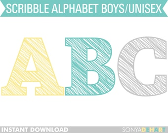 80% OFF SALE Clipart Digital Alphabet Scribble Letters | alphabet clip art, alphabet clipart, alphabet letters, digital alphabet, clip art