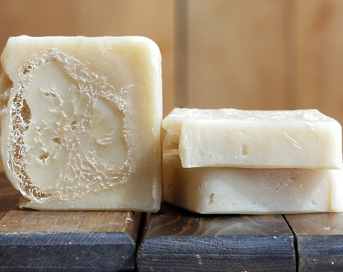 Madame Bovary Goat Milk Cocoa Butter Scrubby Soap -- All Natural Soap, Handmade , Unscented Soap, Hot Process Soap, Vegetarian Soap