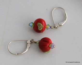 Usa Lampwork EARRINGS Petite RED & GREEN Cherries - Sterling Silver Ear Wires - Ready to Ship Made in Usa - Krissy Beads