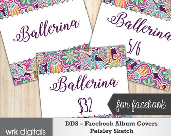 Dot Dot Smile Facebook Album Covers, Style Card, Price Card, Paisley Sketch Design, Facebook Cover, Fashion Consultant, INSTANT DOWNLOAD