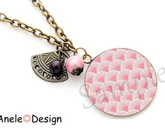 Japanese fan pink wave necklace