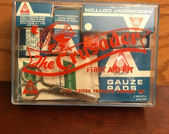 Vintage First Aid Kit, ACME Cotton Company The Crusader first aid kit, pharmaceutical Display, complete Kit, first aid prop, 1970s first aid