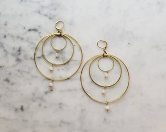 Moonstone on brass connected circles rings hoops - extra large 60mm