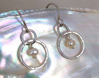 Petite Silver Hoops with White Pearl