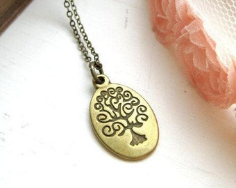 Wisdom Tree Antique Brass Necklace