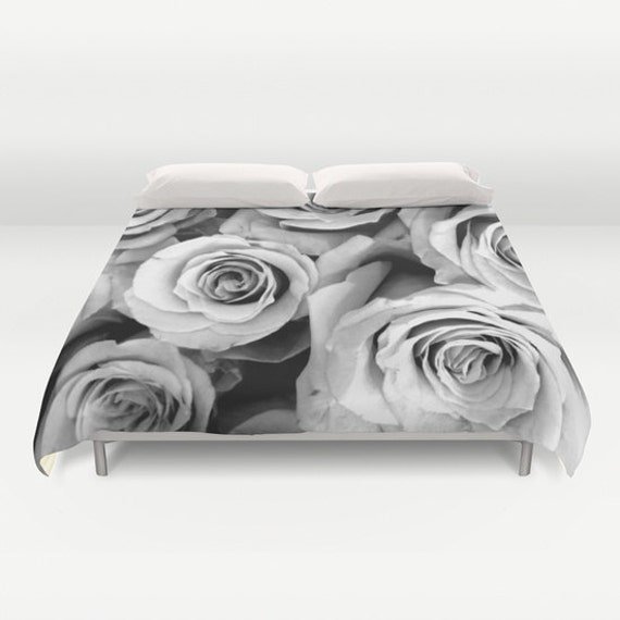 ROSES Duvet Cover, Black White Bedding, Flower bedding, Floral, Unique, Flower, Twin, Full Queen, King, Retro, Vintage, Dorm, Drama
