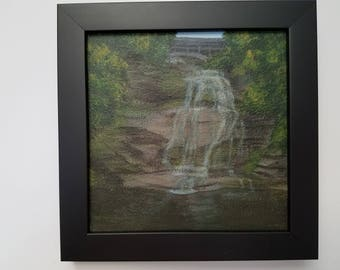 Shequaga Falls - Waterfall - Acrylic painting - Small art - Montour Falls - NY - New York