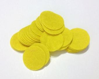200pcs 3cm Yellow Die Cut Round Felt Circles Patches Pad Craft Supplies