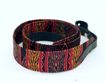 Mandolin / Ukulele Strap with Leather Ends - Aztec Red Tribal Print