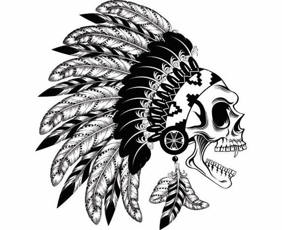 indian skull 8 native american warrior headdress feather