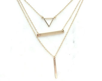 Dainty Layering Necklace Jewelry Bar Triangle Necklace Minimalist Minimal Simple Necklace Everyday Layered Jewelry