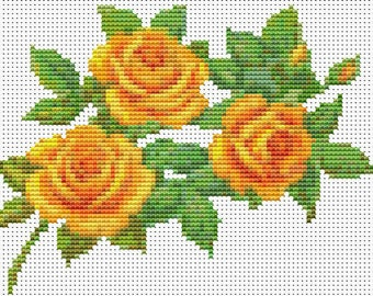 Roses Cross Stitch Chart, A Trio of Yellow Roses Cross Stitch Pattern PDF, Art Cross Stitch, Floral Cross Stitch, Embroidery Chart