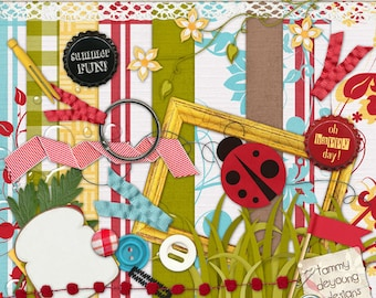 Digital Picnic Scrapbook Kit 2, Vintage-style Tablecloth Papers, ladybugs, lace, frames for Spring & Summer picnic themed cards, scrapbooks