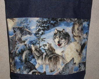 New Large Handmade Denim Wolf Wolves Snow Wildlife Tote Bag