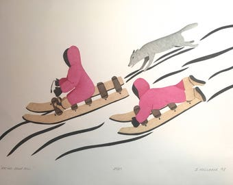 Racing Down Hill - Stencil print by Susie Malgokak