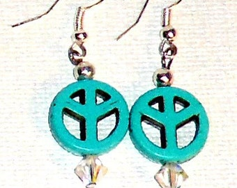 """Earrings """"Peace in my soul"""" Genuine Turquoise and Swarovski Crystal Great Office Gift and Stocking Stuffer"""