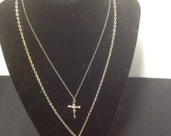 Vintage 2 metal Chain Necklaces Crosses Crucifix religious