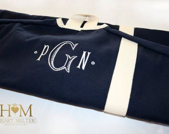 Navy Garment Bag - Monogrammed Garment Bag - Canvas Garment Bag  - Groomsmen Bag - Bridal Gift