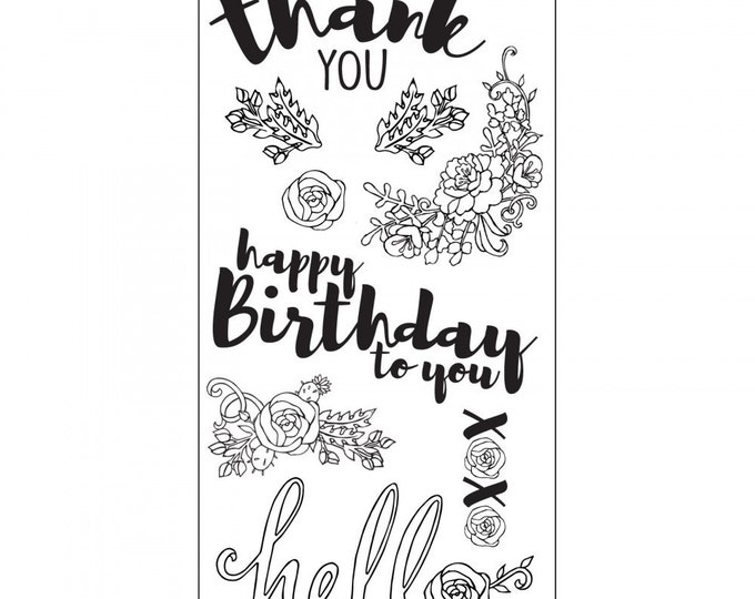 New! Sizzix Clear Stamps - In Bloom Sentiments by Jen Long