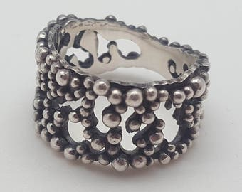 "Ring ""Millepora"" Silver 925 oxidized and granulation"