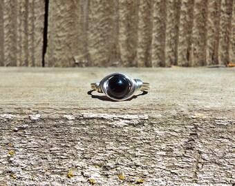 Round Black Onyx Gemstone Wire Wrapped Ring Bohemian Gypsy hippe Jewelry BOHO