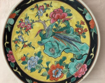 Asian Style Bright Colored Hand Decorated Etched Ceramic Porcelain Bowl Dis