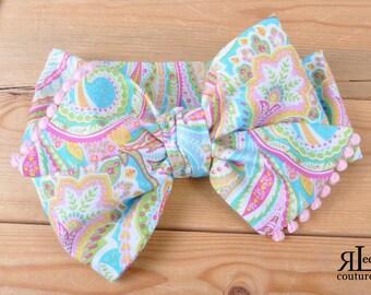 Paisley Garden Headwrap - Bow Headwrap - Head Wrap - Baby Headwrap - Hair Bow