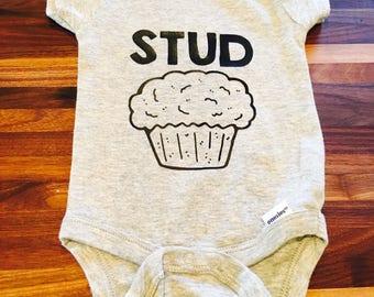 Stud muffin baby onesie