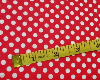 "Red & White Polka Dot Fabric, 44-45"" wide, by the half yard - 100% Cotton"