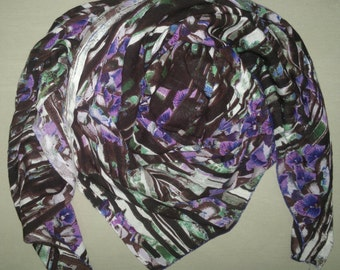 Square Scarf Rayon Scarf Indian Scarf Coffee Contemporary Scarf