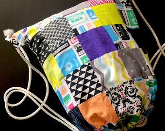 Patchwork Drawstring Large Backpack 80s Cassette Tape Beach Bag Washable Lined Eco Friendly