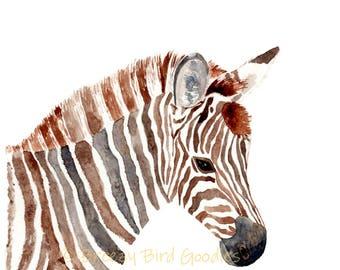 Stripey the Zebra Print, Zebra Wall Art, Safari Zebra, Baby Zebra Illustration, Nursery Animal, Zebra Gifts, Safari Nursery Decor