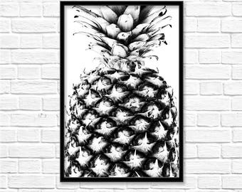 Pineapple Print, Black and White, Tropical Wall Art, Botanical Print, Kitchen Fruit, Printable Digital Download, Minimalist Poster