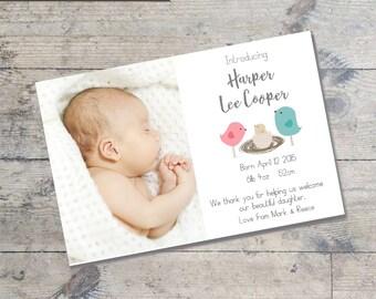 Bird Nest  BABY ANNOUNCEMENT Card DIY Printable  Baby Thank You Card