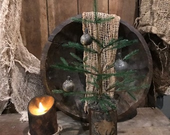 Primitive Feather Tree Spinner Gourd Ornaments Rusty Grubby Deer Can Early Look Cupboard Tuck Homestead